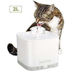 Docamor Cat Dog Trinkbrunnen Pet Drinking Dispenser 2L Wasserkapazität Super Quiet Flower Automatische elektrische Wasser Feeder Filter, 2 Arbeitsmodi, 3 Wasserfluss Einstellungen Hunde, Katzen, Vögel