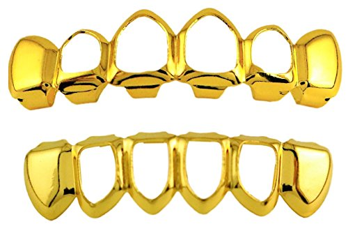 24K Vergoldet Open Face Grillz + 2extra Formen Bars