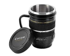 DSstyles Tasse à café isotherme en acier inoxydable et en forme d'objectif d'appareil photo Noir