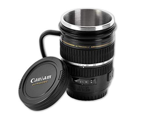 DSstyles Edelstahl Kamera Objektiv Tasse Personalisierte Kaffee Tasse Isolierte Cup - Schwarz