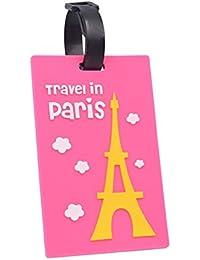 bismarckbeer Cartoon Torre Eiffel de París de viaje etiqueta para equipaje con cable de bucle maleta etiquetas rosa tamaño único