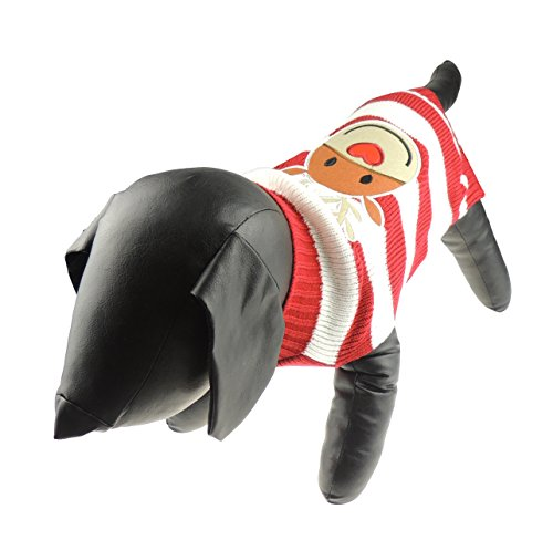 Niedliche Festive Weihnachten rot & weiß gestreift Hund Katze Warm Winter Knit Jumper Smiling ()