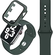 Compatible with Apple Watch band 42/44mm, Silicone Watch Strap + PC Tempered Screen Protective case Suit, Adju
