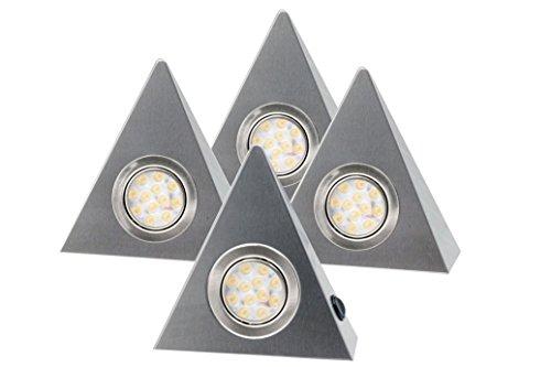 4er Set LED Dreieckleuchte Unterbauleuchte Küchenleuchte EDELSTAHL 3W WARMWEISS mit Zentralschalter