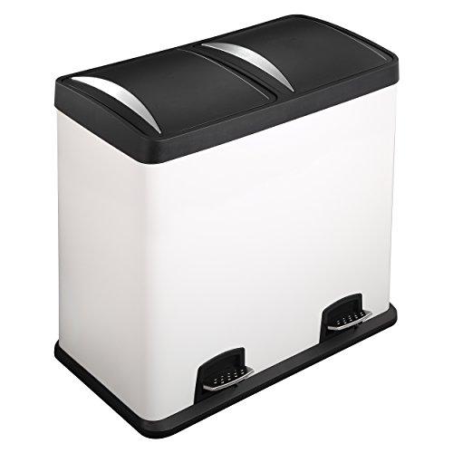 Lyndan - 60 Liter 60L große weiße Stahl Treteimer Mülleimer mit Deckel und Doppelt, Küche, Garage, Schuppen und Hausgebrauch Recyceln Abfall Recycling