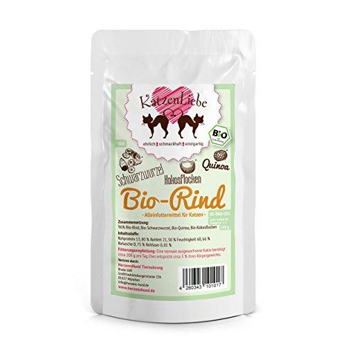 KatzenLiebe Bio-Rind mit Bio-Schwarzwurzel, Bio-Quinoa, Bio-Kokosflocken, 15 x 100 g