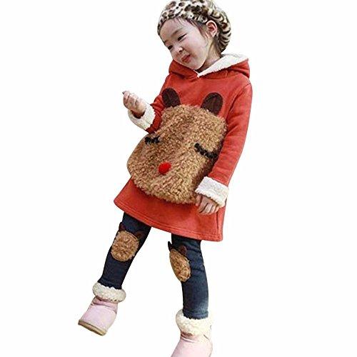 Kostüme Orangen Kind Anzug Haut (Janly 3-8 Jahre Baby Outfits Kinder Mädchen Jungen Winter Warme Kleidung Sets Mit Niedlichen Bär Fleece Hoodie Tops (Alter: 3-4 Jahre alt,)