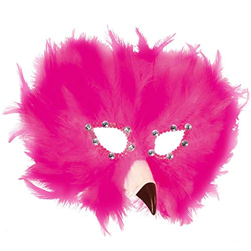 PARTY DISCOUNT® Maske Flamingo aus Federn, rosa