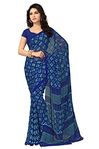 Vaamsi Georgette Saree with Blouse Piece (Vega3096_Blue_One Size)