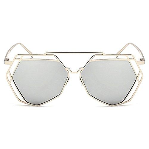 Highdas New Big Mirror Lunettes de soleil Femmes Hommes Hexagon Hippie UV400 Pilot ¨¦vider Sunglasses Pour Lovers Argent/Blanc Mercury