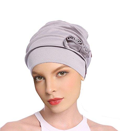 Welrog Mujer Flor Pañuelo musulmán - Plisado Turbante para dormir Chemo Cancer Cap (Gris)