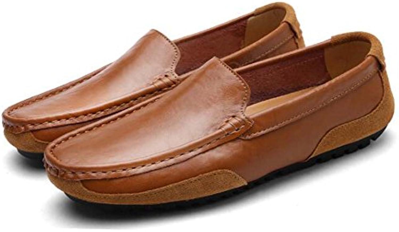MYI Herren Handgemachte Erbsen Schuhe Casual Fahr Schuhe weisshem Leder Faule Fuumlße Schuhe Braun/weissszlig/Gelb Größe