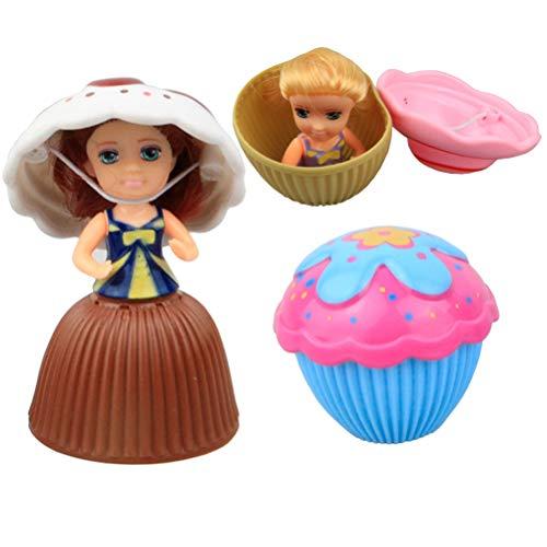 STOBOK 3 unids Cupcake Sorpresa Perfumada Princesa Muñeca Mini Magdalena Magdalena Princesa Muñeca Juguetes de Regalo para Niñas de Color Al Azar