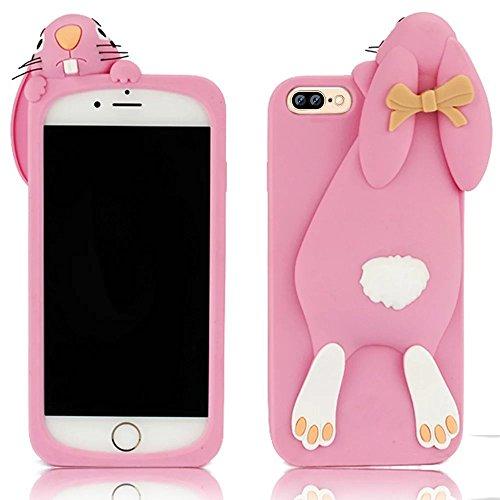 iPhone 7 Plus Hülle, Vandot Schutzhülle iPhone 7 Plus Handyhülle 3D Cartoon TPU Silikon Gummi Zurück Case Cover Niedlich Cute Lovely Rabbit Bunny Bow Weich Soft Karikatur Passgenaues Telefonkasten Han Pink Rosa