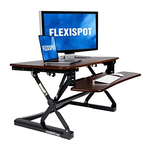 Flexispot Stehpult Riser-88,9cm Breite Plattform Höhe Verstellbarer Ständer bis Schreibtisch Computer Riser mit herausnehmbarer Tastatur Tablett River walnut