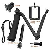 sdfghzsedfgsdfg Réglable multi-angle 3 Way monopode selfie Pole bâton caméra trépied pour GoPro Hero 5 4 Accessoires Appareil Photo d'action 3+ Noir