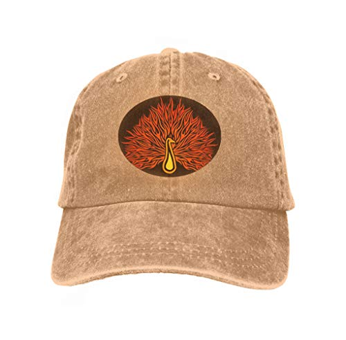 Cowboy Hat Fashion Baseball Cap for Men and Women Pattern Flaming Peafowl linear Sand Color Peacock Black Background Sand Color