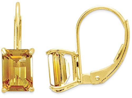 Designer-schnitt (IceCarats Designer Schmuck 14K 7x5mm Smaragd-Schnitt Citrine Leverback Ohrringe)