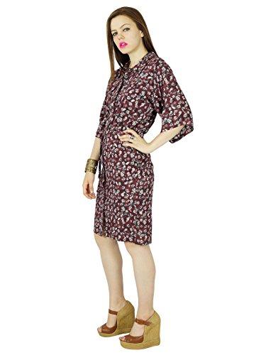 Bimba Women Knee Length Rayon Safari Dress 3/4 Sleeve Button Down Brown Casual Dress Brown