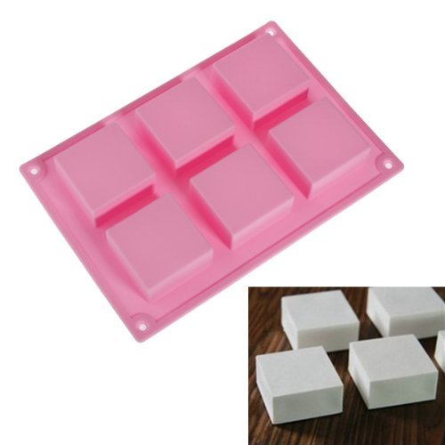 6 Square Cavity Rectangle DIY Soap Mold Jelly Ice Cake Chocolate Silicone Moulds,Random color