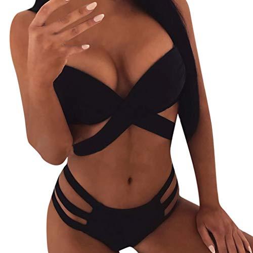 Damen Bikini Set Sexy Two Piece Bademode Swimsuit mit Push Up Crossover Bikini Top and Triangle Bikini Bottoms Halter Bandage Badeanzug Swimwear Bikini Sets Strandkleidung TWBB -