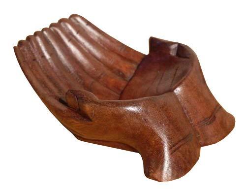 Handschale Paar Abstrakt Holz Schale Skulptur Dekoration