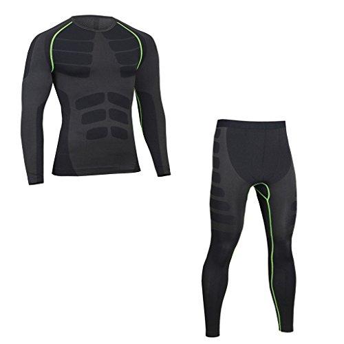 Cold Base Layer Legging (ZZLAY Herren Kompressions Longsleeves T-Shirts Dry Baselayer Sportbekleidung Hosen Set)