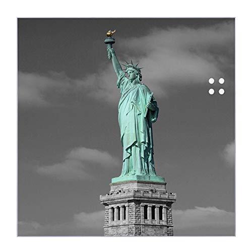 BANJADO Glas Magnettafel beschreibbar 30 x 30 cm groß | Memoboard mit 4 Magneten | Glastafel mit Motiv Freiheitsstatue | Pinnwand aus Glas magnetisch, Glas Magnettafel