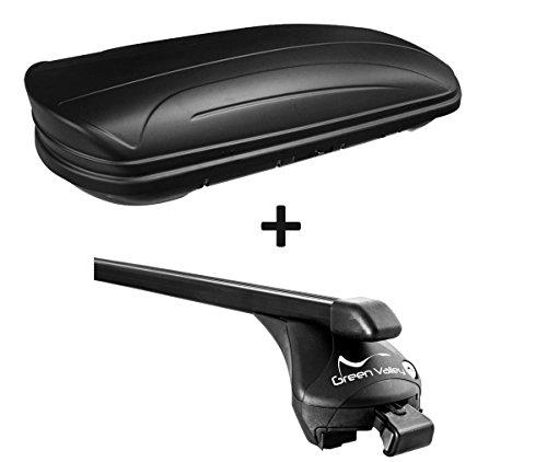 VDP Dachbox schwarz matt MAA320M günstiger Auto Dachkoffer 320 Liter abschließbar + Relingträger Dachgepäckträger für aufliegende Reling im Set für BMW X1(E84) 2009 bis 2015 bis 100kg