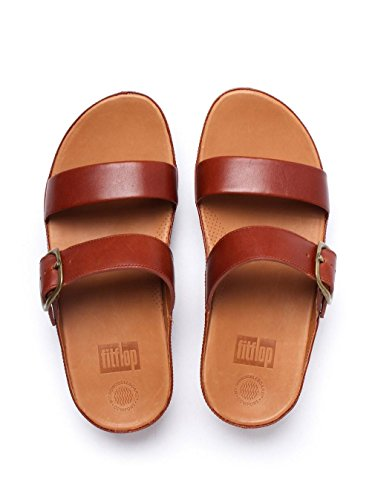 FitFlop Womens Stack Slide Leather Sandals Dunkle Bräune