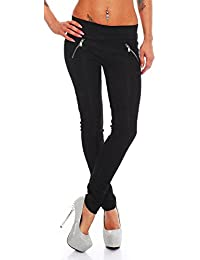 5446 Fashion4Young Damen Treggings Leggings Hose pants Stretch-Stoff-Mix Leder in 5 Größen Schwarz