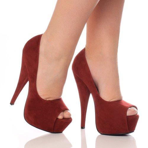 haut bout Bordeaux Rouge talon pointure chaussures ouvert Daim classique sandales plateforme Femmes tqE1wxF1