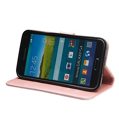 Für Samsung Galaxy S5 Premium Leder Schutzhülle, weiche PU / TPU geprägte Textur Horizontale Flip Stand Case Cover mit Lanyard & Card Bargeldhalter ( Color : Pink ) Pink