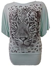 Femmes Grande Taille paillettes imprimé tigre ample chauve-souris tops tunique robe de slouch