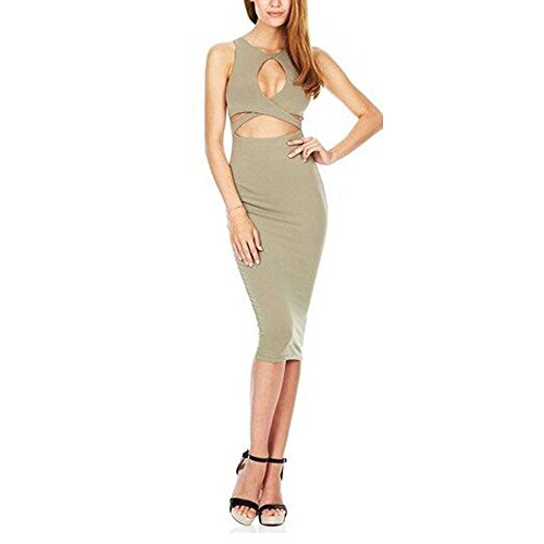 Damen Chest Piercing Bandage Kleid im Nachtladen , green , l