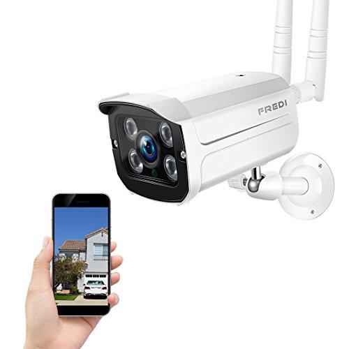 FREDI HD 720P Videocamere di Sorveglianza WIFI Esterno con Rilevamento del Movimento, IP65 Telecamera IP Camera Wireless, IP Cam senza fili con Visione Notturna, Supporto SD Card da 128 GB(non inclusa), Vista a Distanza via Smart Phone /Tablet /PC Windows