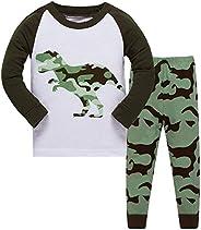 DAWILS Pigiama Ragazzo Dinosauro Ragazzi Pigiami Maniche Lunghe 100% Cotone Dinosauro Dino Roar Pigiamask Bamb