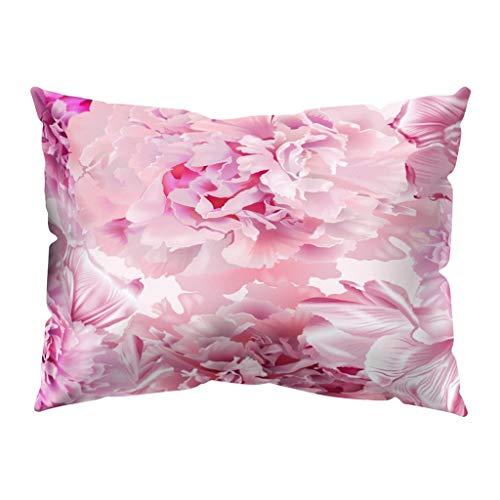 Xmiral Kissenhüllen Kissenbezüge Polyester-Pfirsichhaut Blumen Drucken Kopfkissenbezug 30cm x 50cm(O)