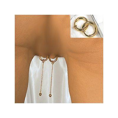 Preisvergleich Produktbild Intimschmuck COF02 Komplett-Set ohne Piercing zum Anclipsen echt vergoldet (silber)