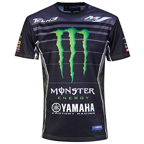 Yamaha Tech 3 Factory Racing Monster MotoGP Allover Print T-Shirt, Uomo, Nero, XXXL