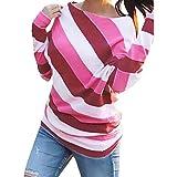Geilisungren Bluse Damen Mode Gestreift Schulterfrei Langarmshirt Casual Rundhalsausschnitt Sweatshirt Oberteil Frauen Streifen T-Shirt Lose Pullover Tops für Herbst Frühling