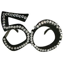 Folat Vidrios fiesta de cumpleaños número 50 (un tamaño, Negro)