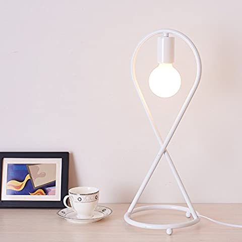 YYHAOGE Simple Bedroom Bedside Lamp Iron Personality Study The Living Room Decorative Lamps,49Cm Tall, /F White,Table Lamp,Desk Lamp,Reading Lamp