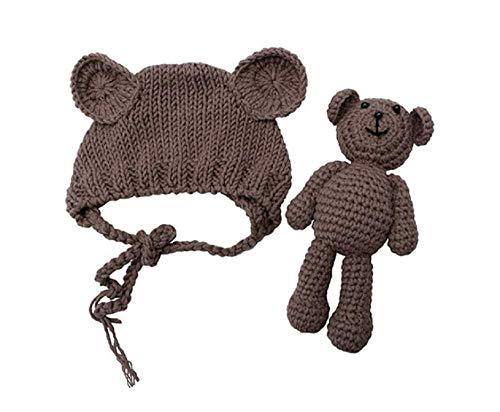 Matissa Neugeborenes Baby häkeln Strick Kostüm Fotografie Prop Baby Bär Hut und Puppe Set (Braun) (Wasser Bär Kostüm)