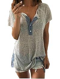 K-youth® Blusas de Mujer, Camiseta para Mujer con Cuello de Pico Manga