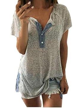 K-youth® Blusas de Mujer, Camiseta Para Mujer con Cuello de Pico Manga Corta Camisas Mujer de Vestir Atractivo...