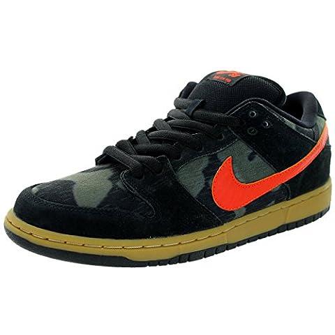 NIKE SB Skate Shoes DUNK LOW PREMIUM BLACK/CAMO/ORANGE Sz 7