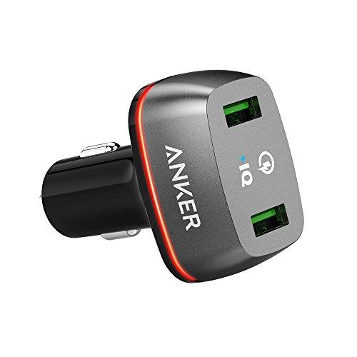 Anker PowerDrive+ 2 Qualcomm Quick Charge 2.0 36W Kfz Ladegerät Premium 2-Port Autoladegerät mit Power IQ für Samsung Galaxy S7 / S6 / Edge / Plus, Note 5 / 4, LG G4, HTC One M8 / M9, Nexus 6, iPhone 6 und weitere