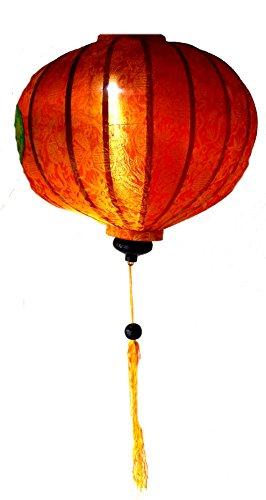 Terrapin Trading Vietnamesisch Silk & Bamboo Lampshade/Laterne (20 Zoll / 50 cm) (orange)