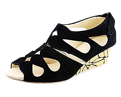 Kanchan Women's Black Velvet Fashion Sandal (Size-3)